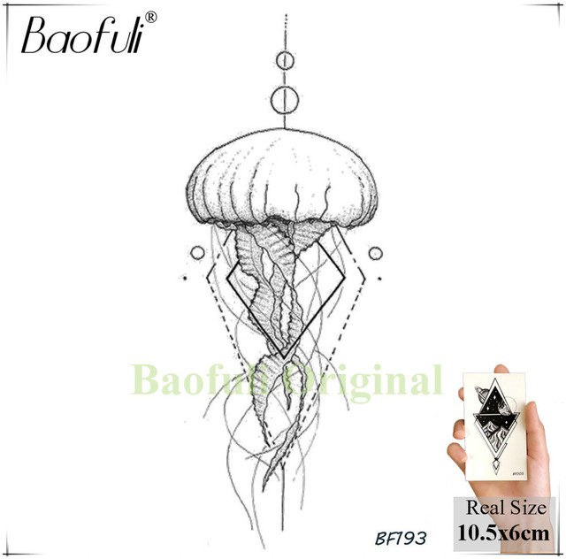 Waterproof Temporary Sticker Geometric Planet Jellyfish Tattoo Black Triangle Tattoos Body Arm Men Fake Tatoos Chains