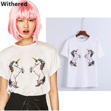 Withered women tops summer t-shirt 2017colorful Handmade sequins of the horse personality fashion pure cotton t shirt women tops