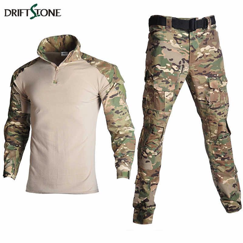 Kamuflase Ru Militer Taktis Seragam Pakaian Tentara AS Tempur Pakaian Set Paintball Airsoft Kemeja dan Celana Kargo Tidak Ada Bantalan