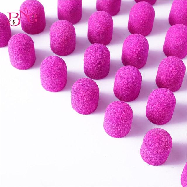 BNG 5pcs Purple Grit 80/120/180 10*15 13*19 Sanding Bands Block Caps Sanding Cap Manicure Pedicure Electric Nail Drill cutters 2