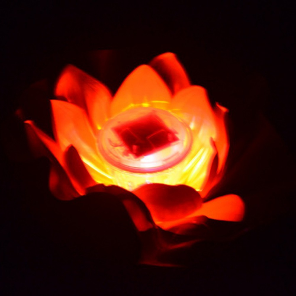 2017 Multi Colors Solar LED Light Garden Floating Lotus Light Night ...