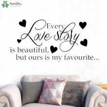 YOYOYU Wall Decal Romantic Wedding Sticker Quotes Every Love Story Is Beautiful Vinyl Heart Pattern Removable Decor CT714