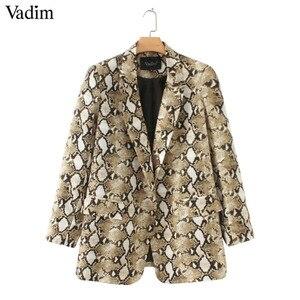 Image 3 - Vadim vintage snake print blazer zakken Gekerfd kraag lange mouwen jas bovenkleding vrouwelijke retro losse casaco feminines CA154