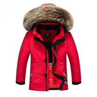 Top Quality Snow Wear Winter Boys Duck Down Jacket Girls Outerwear Thick Warm Raccoon Fur Hooded