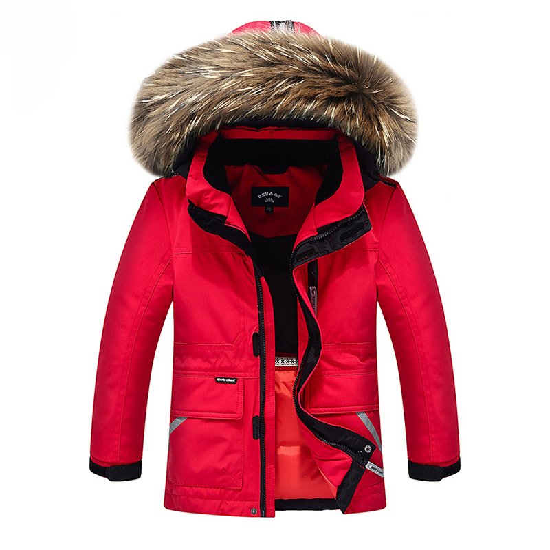 Top Quality!Snow Wear Winter Boys Duck Down Jacket Girls Outerwear Thick Warm Raccoon Fur Hooded Kids Parka Coats -30 degree new 2017 russia winter boys clothing warm jacket for kids thick coats high quality overalls for boy down