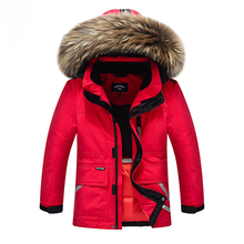 Top Quality!Snow Wear Winter Boys Duck Down Jacket Girls Outerwear Thick Warm Raccoon Fur Hooded Kids Parka Coats -30 degree