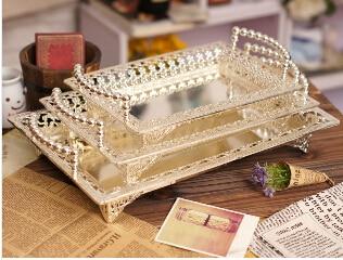 Metal Rectangle Serving Tray Storage Plate Bandeja Decorativa For Wedding Hotel Restaurant Event Silver