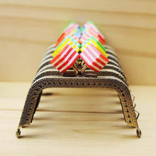 7pcs/Lot 8.5cm Metal Purse Frame Handle for Bag Sewing Craft,Striped Square Candy Beads Coin Purse Frames christmas gift