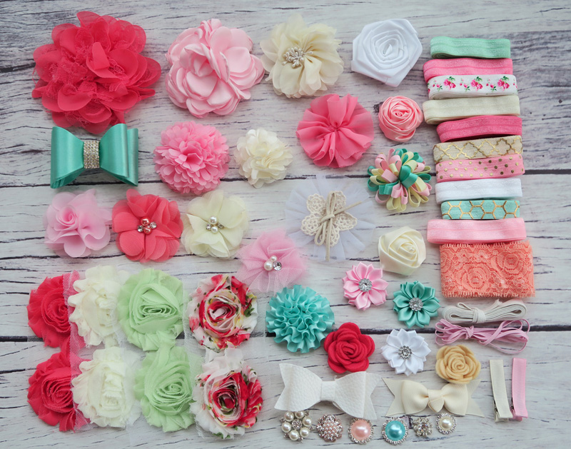 DIY Headband Making Kit,Shower Headband Station Kit,First Birthday Party Headband Kit,Hair Bow Kit ,Coral,ivory ,white,S34 цена и фото