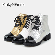 2019 new ankle British boots female patent leather lace up round toe chunky heels sequined cloth bling plush Martin shoes woman