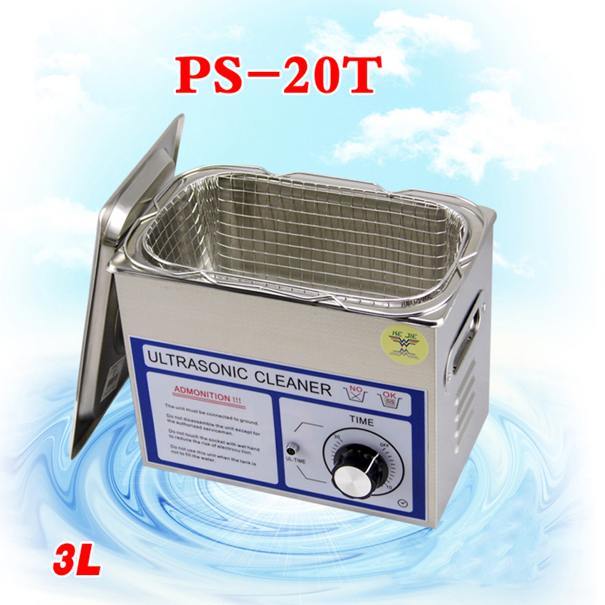 1PC ultrasonic cleaner 3L PS-20T 120w 40000Hz frequency for jewely ,gleases ,ring coin cleaning machine 40khz 80khz 1000w multi frequency ultrasonic cleaner