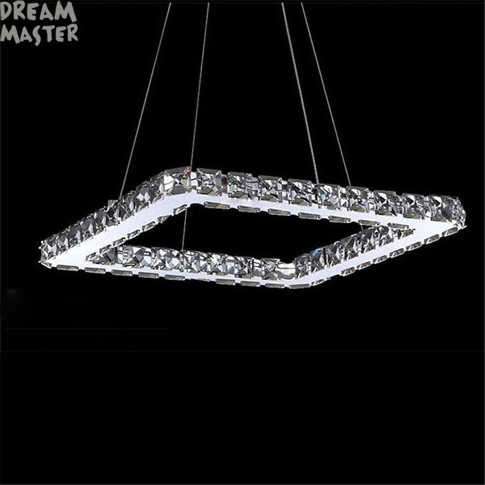 Quadrato di Cristallo HA CONDOTTO LA Luce Lampadario Apparecchio di Illuminazione Di Cristallo ha condotto la lampada per Soggiorno Sala da pranzo, Sala Lustres De Cristal Teto