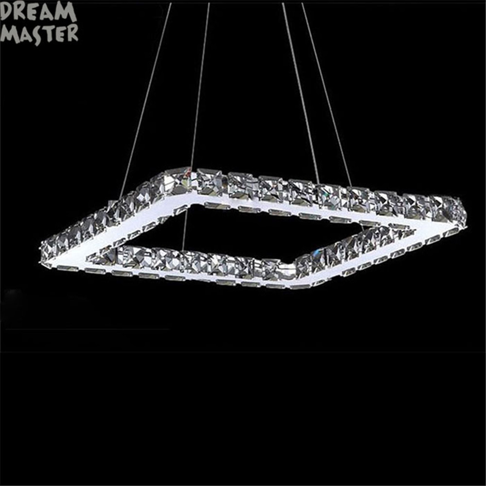 Square Crystal LED Chandelier Light Fixture Crystal Lighting led lamp for Living Dinning Room, Lustres De Cristal Sala Teto modern fashion luxury led crystal pendant lamp 6 bulb home deco dinning room lustres de cristal sala teto pendant light fixture