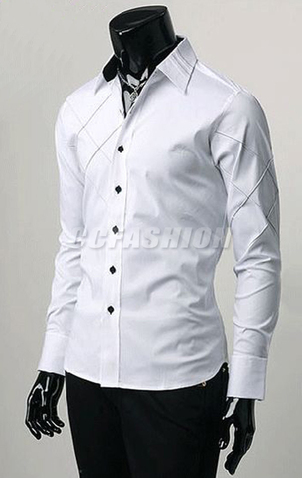 Man Spring 2014 Pleated Cuff Men Dress Shirts Pure Color White Wedding Party Free Shipping In From Mens Clothing Accessories