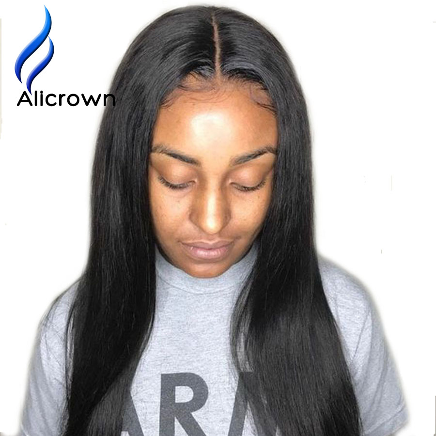 ALICROWN 13 6 Deep Part Lace Front Human Hair Wigs Pre Plucked 180 Density Brazilian Remy