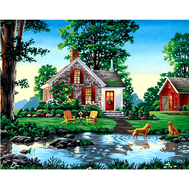 New Arrival Diamond Embroidery Country House And Lake Diy