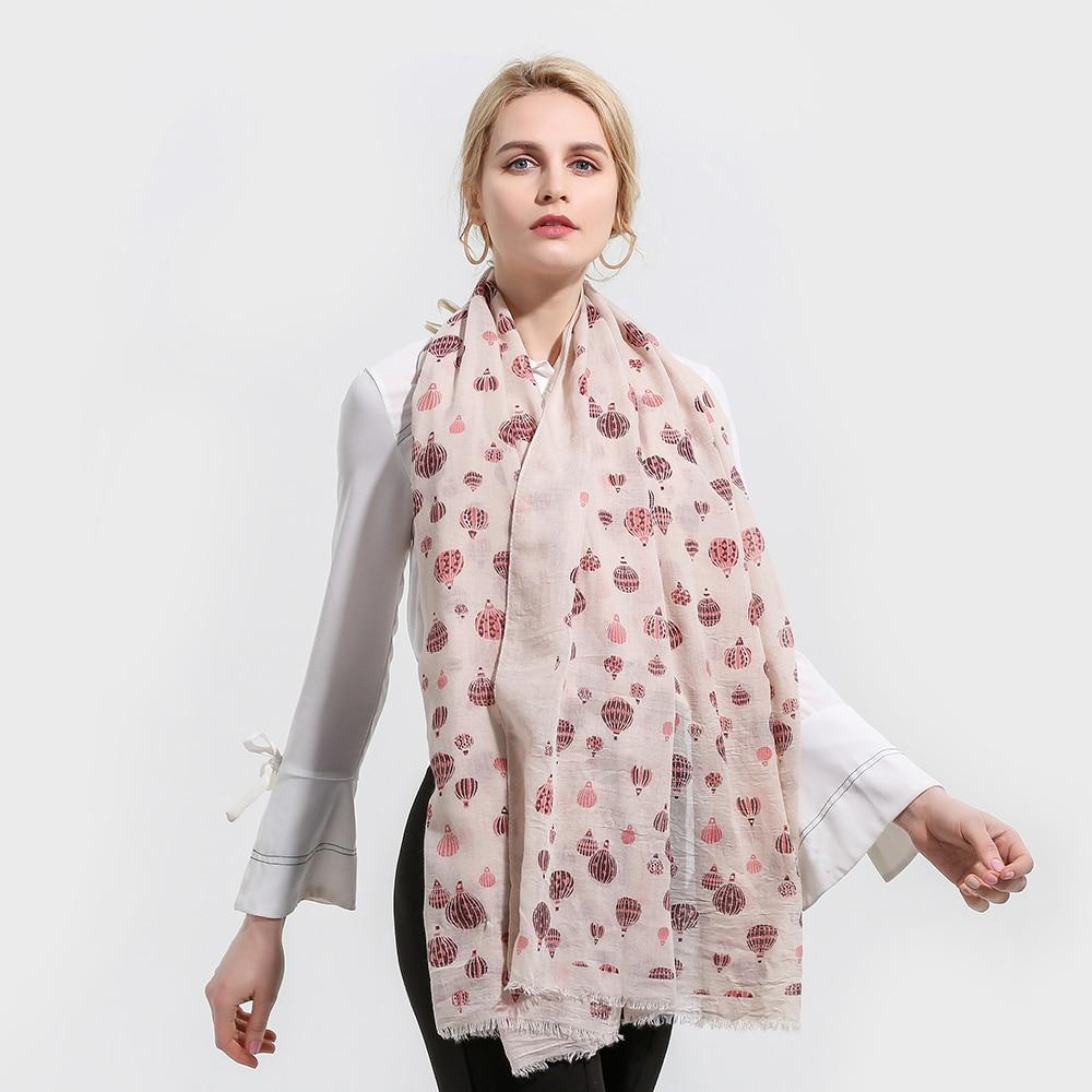 Winfox 2019 Fashion Beige Female Hot Air Balloon Print   Scarf   Women Hijab   Scarves     Wrap   Foulard Femme