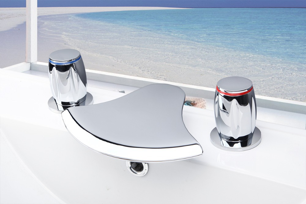 Bathroom Bathtub New Waterfall Double Handle Deck Mounted 3 piece set Faucet Basin Brass Sink Mixer Tap 12G Mixer Tap Faucet deck mounted bathroom basin sink bathtub