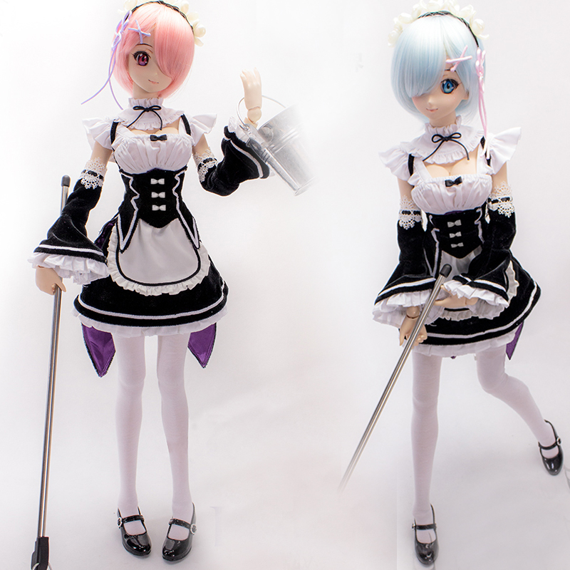 Accept Custom COS Re:Life in a different world from zero Ram / Rem maid outfit Cosplay Suit For 1/3 BJD SD DD DDL Doll Clothes accept custom european style black leather suit bjd uncle 1 3 sd ssdf doll clothes