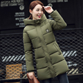 Slim Medium Section Women Down Coats with Cuffs Solid Slim Hooded Thicken Outcoats with Sleeve Badge