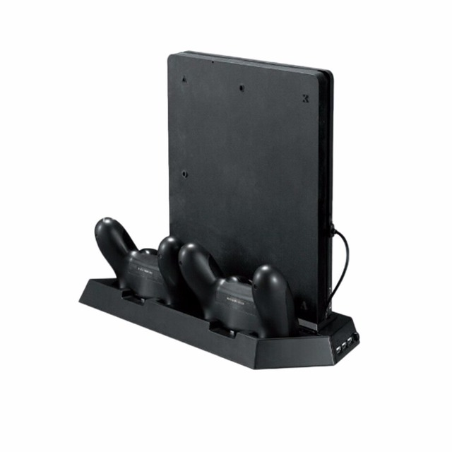 PS4 Vertical Stand w/ Cooling Fan Charger PlayStation 4 Console PS4 Controllers Charging Station Dual USB Charger Ports USB HUB