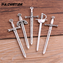Sword Charms Weapons Jewelry-Making Antique Color-Knight Zinc-Alloy Silver-Color 5pcs