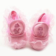 Младенцы Новорожденных Мягкая SoleCrib Обувь Партия Принцессы Девочка Кружева Рябить Обувь 0-18 M