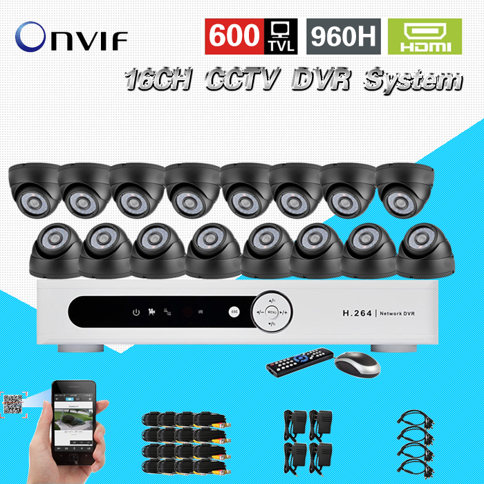TEATE security 600TVL16pc indoor dome camera CCTV surveillance kit 16 channel H.264 DVR IR weatherproof CCTV video system CK-218