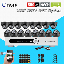 TEATE security 600TVL16pc indoor dome camera CCTV surveillance kit 16 channel H 264 DVR IR weatherproof