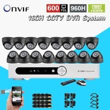 TEATE 600TVL16pc indoor dome câmera de segurança CCTV kit 16 canais H.264 DVR IR à prova de intempéries de vigilância CCTV sistema de vídeo CK-218