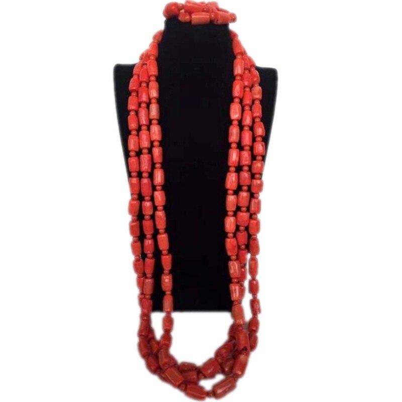 4 bijoux en corail véritable ensemble de bijoux de mariage ensemble de bijoux hommes nigérians perles de corail 3 couches Nature pierres collier Bracelet nouveau