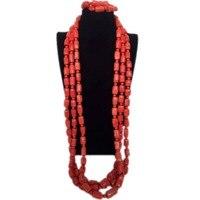 4UJewelry Genuine Coral Jewelry Set Wedding Jewellery Set Men Nigerian Coral Beads 3 Layers Nature Stones Necklace Bracelet New