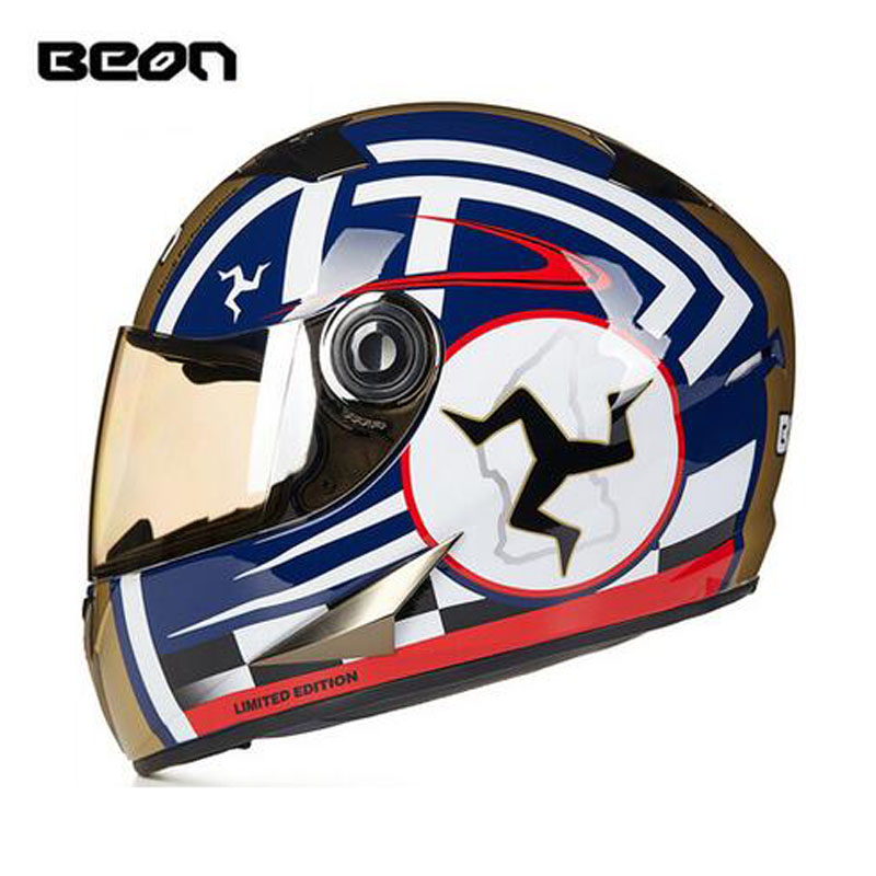Blue gold BEON B-500 full face motocross Helmet for men and women, BEON 500 motorcycle MOTO electric bicycle safety headpiece ece matte black beon full face motocross helmet for women motorcycle moto electric bicycle safety headpiece