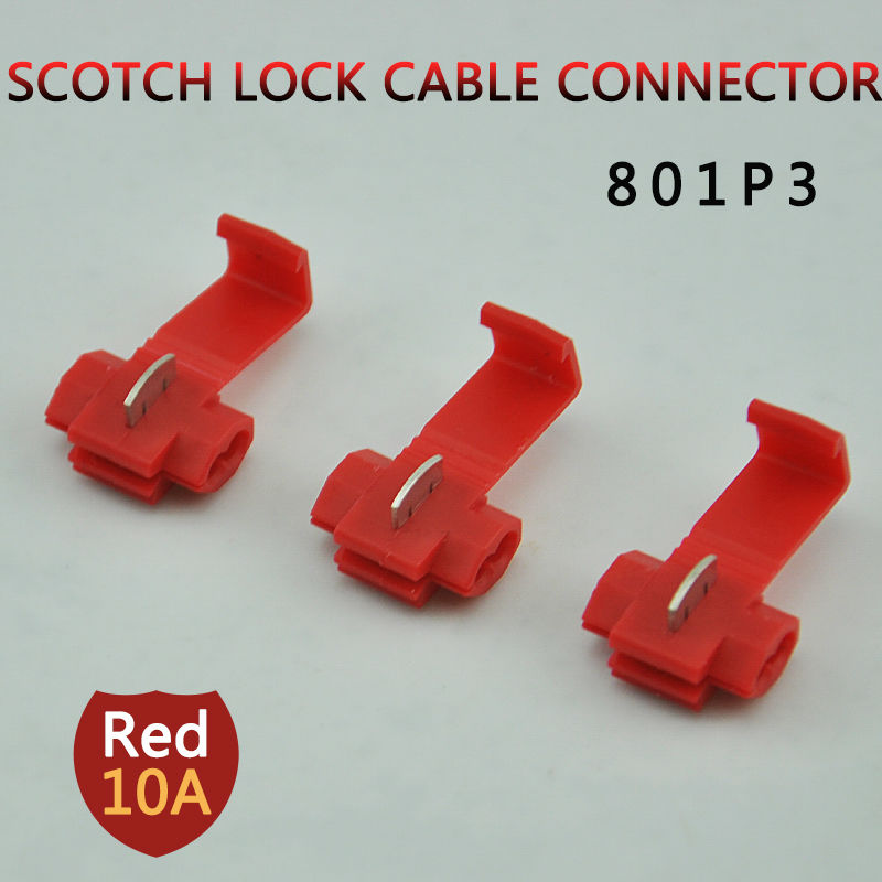 10pcs/lot 801P3 RED Scotch Lock Quick Splice Crimp Terminal G12 22-18AWG Hard Soft 0.5-1.0 Wire Connector 5pcs t shape 2 pin scotch lock quick splice wire wiring connector for 22 18awg led strip wire car audio cable terminals crimp