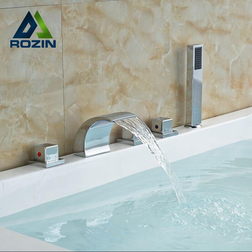 Widespread Bathroom Bathtub Roman Tub Filler Faucet with Hand Shower Set Chrome Finished Waterfall Spout кабель антенный hama coax m coax f 1 5м gold ф фильтр белый [00122412]