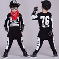 2016 Kids clothing set spring Autumn Boys kids  suits Love Black Hip Hop harem pants & Hooded sweatshirt twinset