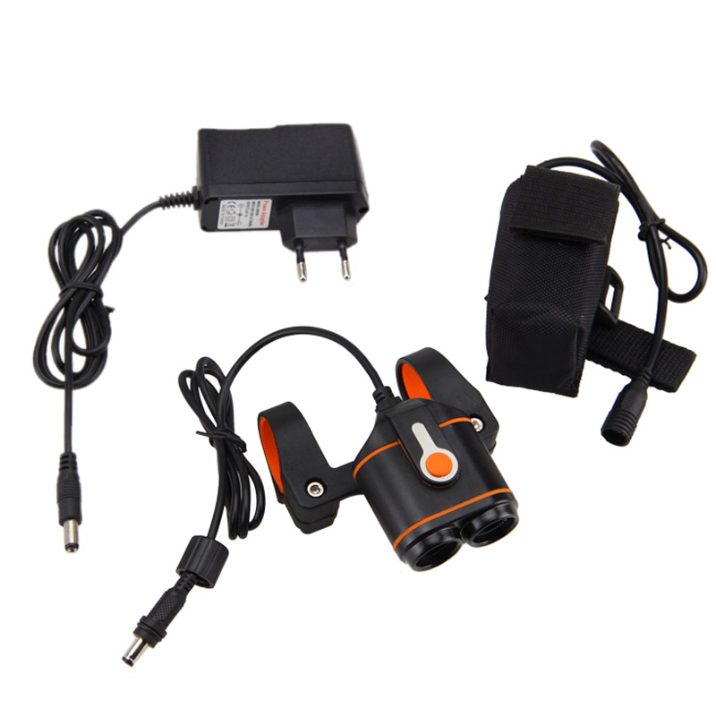 Front Bike <font><b>Lamp</b></font> 10000LM 2x XM-L2 LED Bicycle Light Headlamp Torch Rechargeable Bike Headlight +16000mAh Battery Pack+Charger