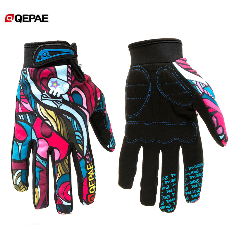 Qepae Colorful Full Finger Bicycle Gloves Anti-Slip Bike Cycling Riding Gloves for Women & Men for Skiing Motorcycle Motorbike
