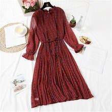 Women Summe Dress 2019 Spring Summer Vintage Floral Print Pleated Chiffon Long sleeve Loose Plus Size Dresses Vestidos W87