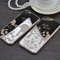 Espejo de estilo dulce lindo mickey minnie mouse tpu case cajas del teléfono móvil cubierta para iphone 5 5g 5S se 6 6g 6 s 4.7 6 plus de 5.5 pulgadas