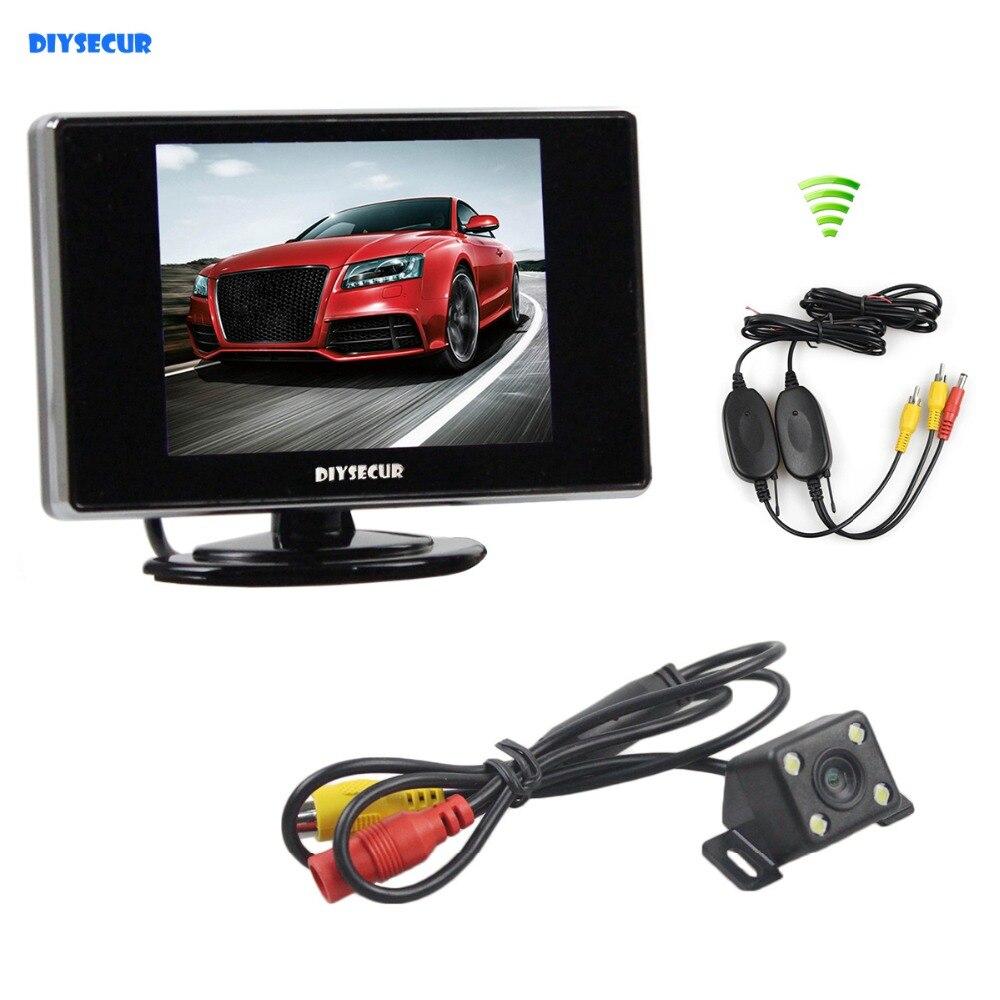DIYSECUR LED Vision nocturne caméra de recul de voiture + moniteur de voiture de vue arrière de 3.5 pouces avec récepteur émetteur sans fil