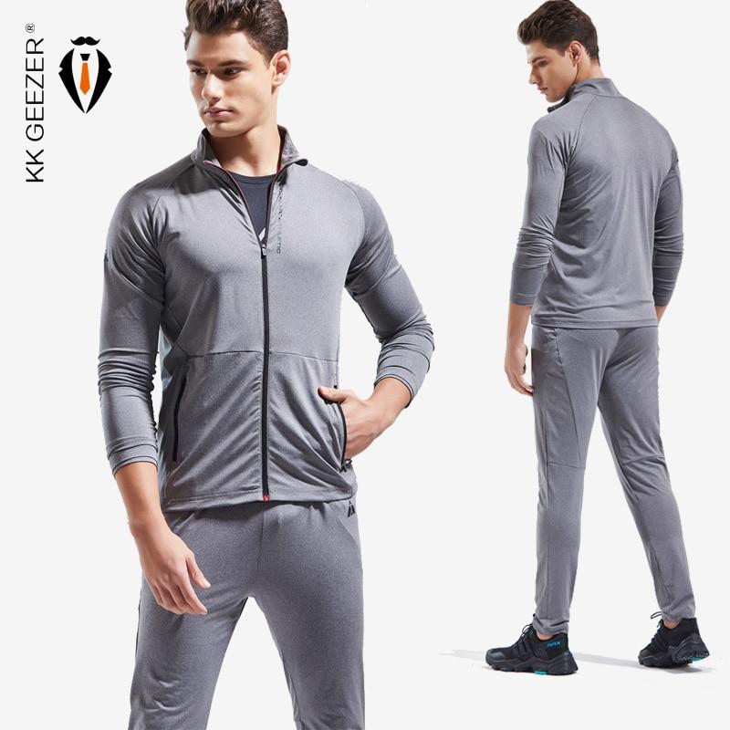 Men Jacket Sets Autumn Sportswear High Quality Sweatshirts Zipper Fitness Overcoat Breathable Jacket Outerwear (Jacket+Pants )