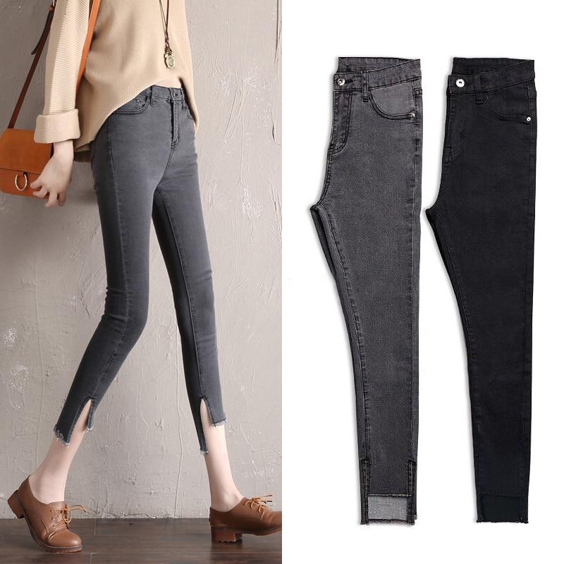 2018 Skinny Pencil   Jeans   Woman Plus Size High Waist Stretch   jeans   Ladies Denim Pants Trousers Women Ankle-Length   jeans   femme