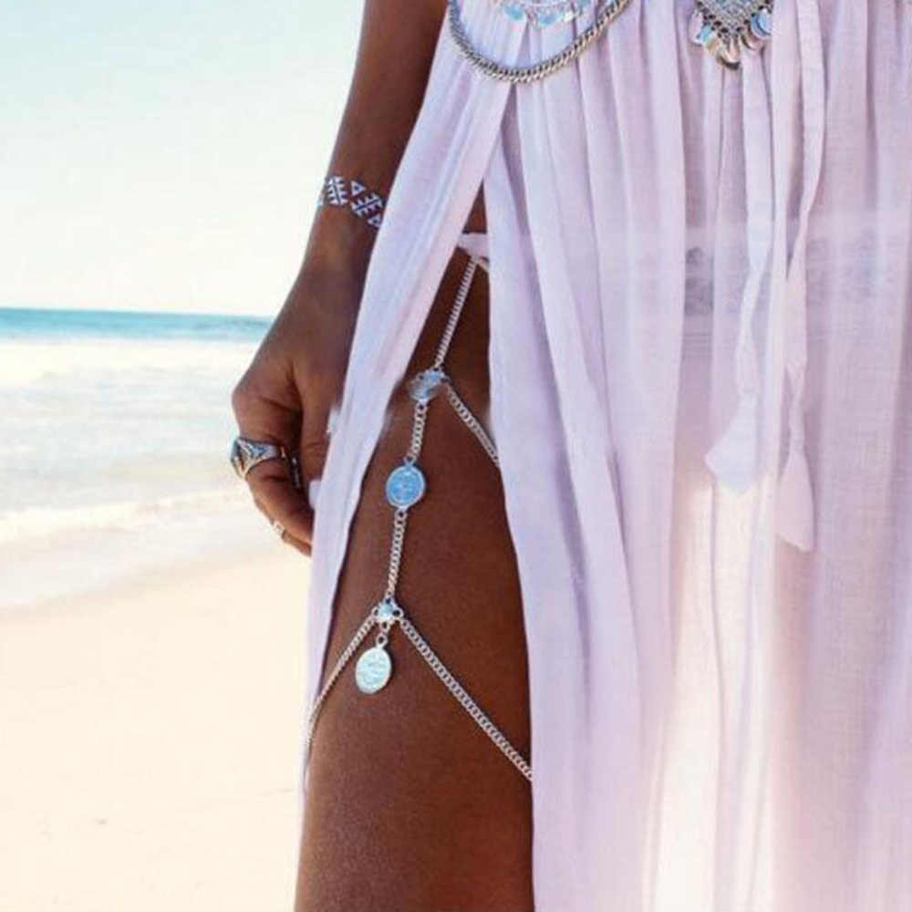 Boho Hot Sexy Leg Chains Coins Pendant Crossover Harness Waist Belt Chain Bikini Thigh Leg Chains Body Jewelry New Arrivals