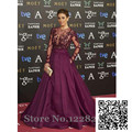 2016 New Design Celebrity Dresses Sheer Long Sleeve Beaded Red Carpet Ball Gown Dresses for Party Evening