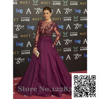 2017 New Design Celebrity Dresses Sheer Long Sleeve Beaded Red Carpet Ball Gown Dresses for Party Evening