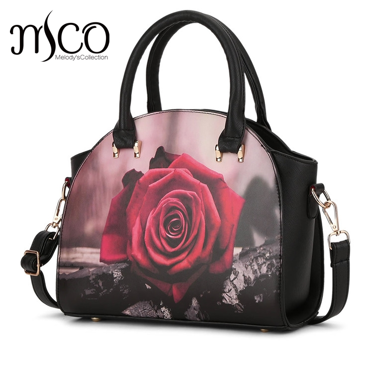 Melodycollection Ink printing Style Women Shoulder Top-Handle Bags Fashion Cartoon Design Women baguette Bag Best  For Women