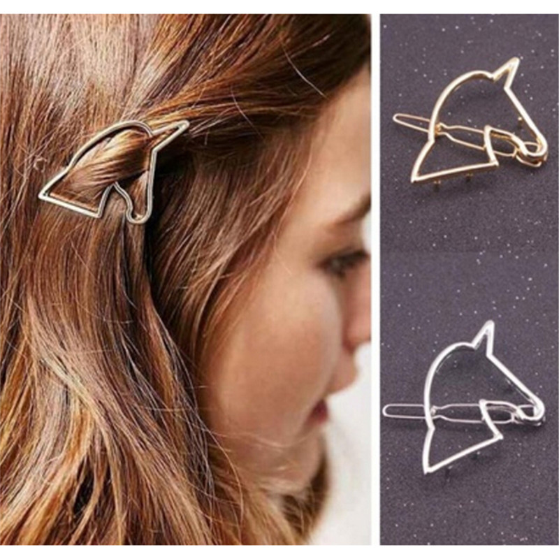 Gold Silver metal Jewelry  Girl Charm Simple Hollow Unicorn Hairpin Side Hair Clip Headdress Women hair Accessories
