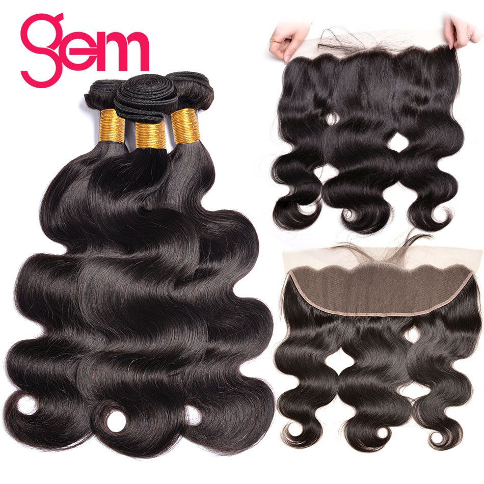 Peruvian Body Wave Bundles With Frontal Closure Non Remy Human Hair Bundles With Closure 13 4