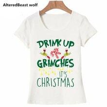 Drink Up Grinches новогодние майки для женщин, подарок, слоган, красные, модные, гранж, вечерние, стильные, эстетические, Забавные футболки, цитата, готика, футболки